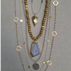 Jewelry - Wood bead and agate necklace
